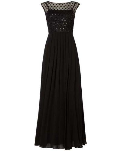 Czarna sukienka wieczorowa z szyfonu krótki rękaw Coast