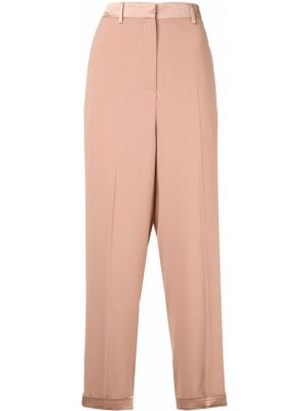 Коричневые укороченные брюки с карманами на пуговицах с высокой посадкой Rochas