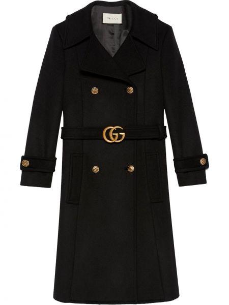 Z rękawami czarny długo płaszcz zapinane na guziki z mankietami Gucci