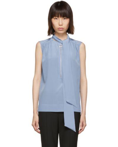Jedwab niebieski bluzka z kołnierzem bez rękawów Givenchy