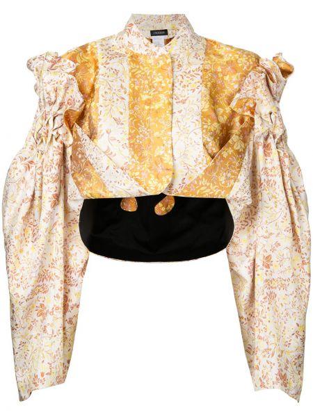 Шелковая желтая куртка каскадная Litkovskaya