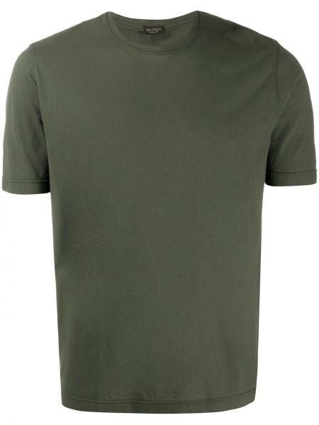 Koszula krótkie z krótkim rękawem prosto zielona Dell'oglio