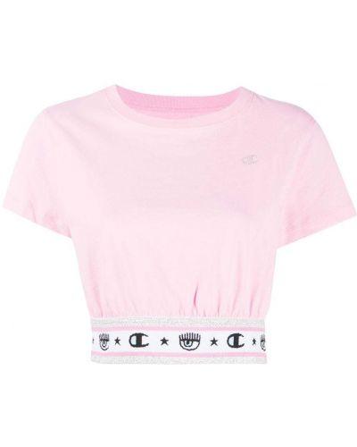 Хлопковая розовая футболка с вышивкой с круглым вырезом Chiara Ferragni