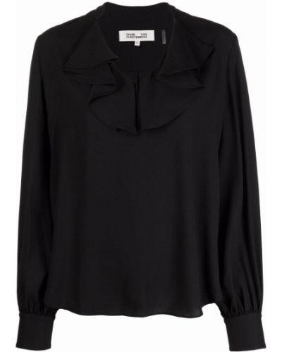 Czarna bluzka z długimi rękawami Dvf Diane Von Furstenberg