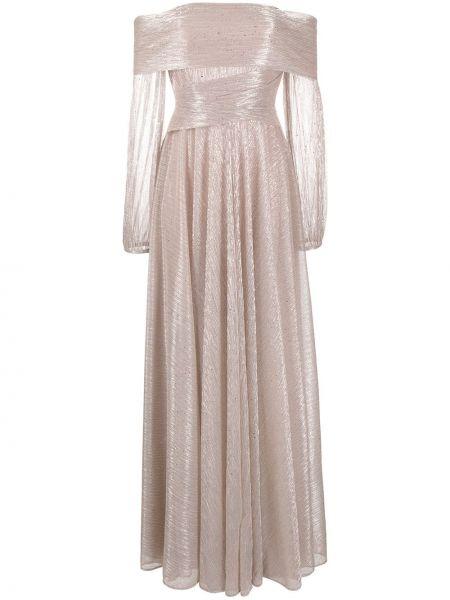 Розовое платье с запахом со складками на молнии Talbot Runhof