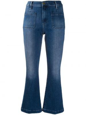 Хлопковые синие с завышенной талией расклешенные джинсы на пуговицах Frame