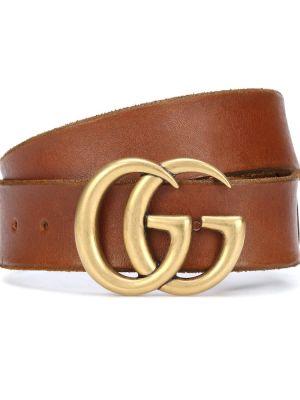 Кожаный ремень - коричневый Gucci