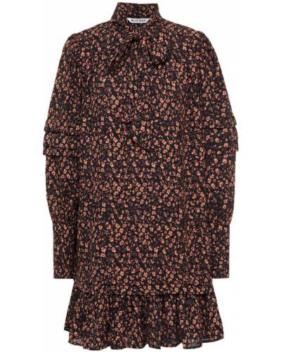 Плиссированное черное платье мини из крепа Walter Baker