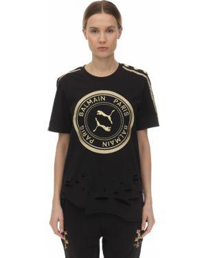 Czarny t-shirt z printem Puma X Balmain