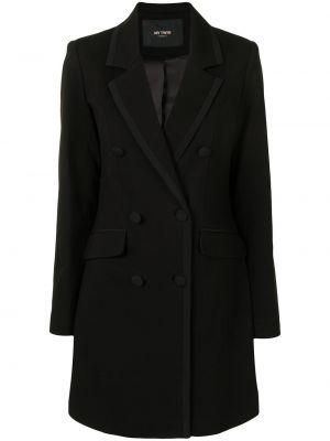 Черный удлиненный пиджак двубортный с карманами Twin-set