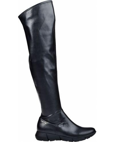 Черные кожаные ботфорты на каблуке Calvin Klein