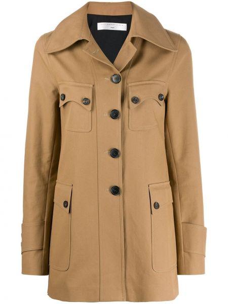 Однобортное пальто классическое с капюшоном с воротником Victoria Beckham