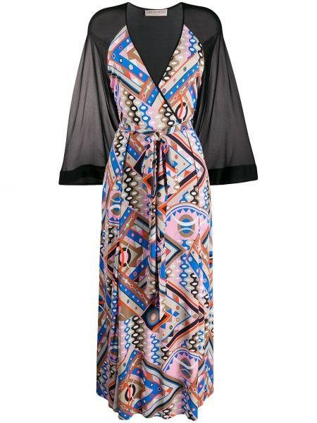 Платье с прозрачными рукавами с V-образным вырезом Emilio Pucci