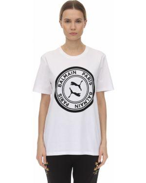 Biały t-shirt z printem Puma X Balmain