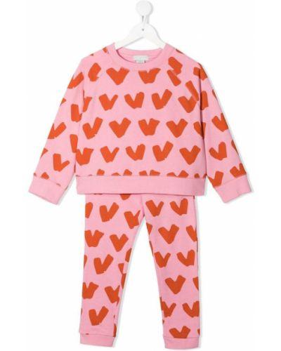 Różowy dres bawełniany z długimi rękawami Stella Mccartney Kids