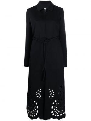 Шерстяное черное пальто классическое с воротником Jil Sander