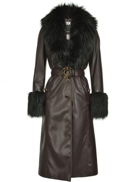 С рукавами кожаное черное длинное пальто Pinko