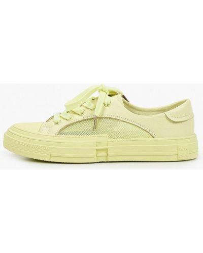 Желтые кожаные низкие кеды Covani