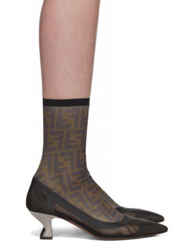 Сапоги на высоком каблуке сапоги-чулки черные Fendi