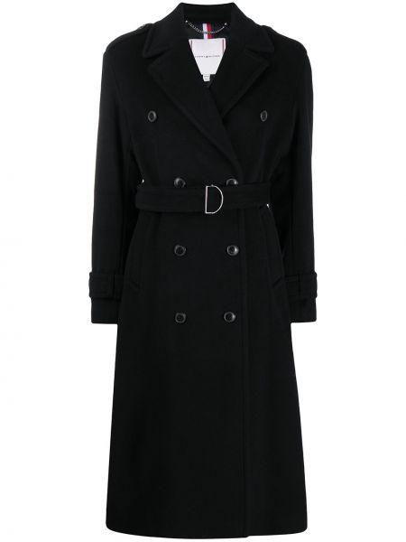 Шерстяное черное длинное пальто на пуговицах Tommy Hilfiger