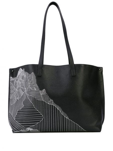Czarna torba na ramię skórzana z printem Akris