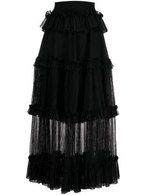 Шелковая черная юбка с оборками каскадная Alexander Mcqueen