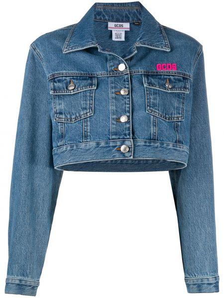 Хлопковая синяя джинсовая куртка с воротником Gcds