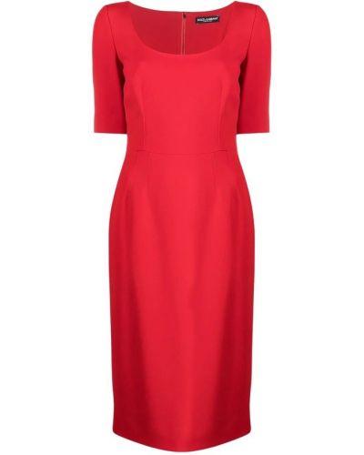 Czerwona sukienka midi elegancka Dolce And Gabbana