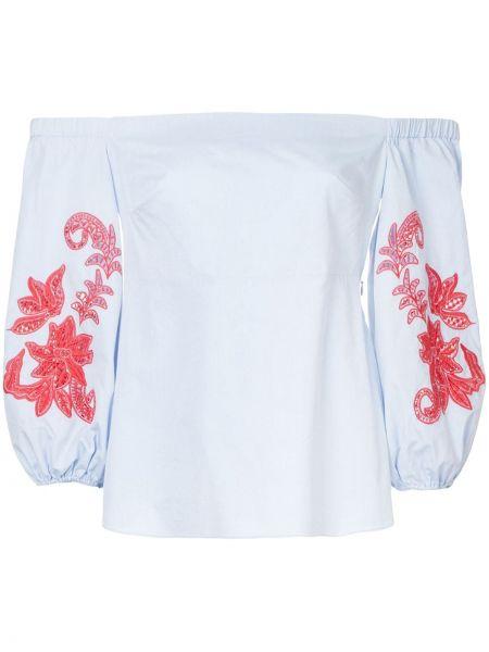 Блузка с открытыми плечами с вышивкой с цветочным принтом Tanya Taylor