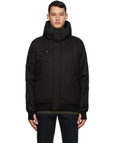 Czarna kurtka z kapturem z nylonu Nobis