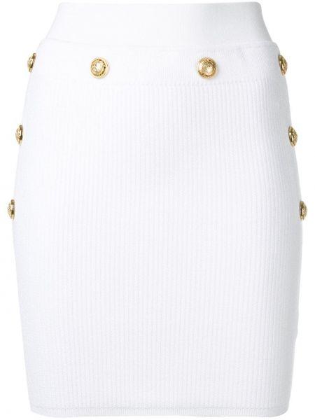 Белая облегающая юбка мини на пуговицах из вискозы Balmain