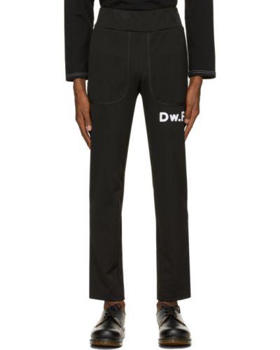 Czarne spodnie bawełniane z haftem Daniel W. Fletcher