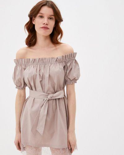 Бежевое платье с открытыми плечами M,a,k You Are Beautiful