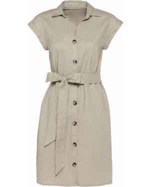Бежевое льняное летнее платье на пуговицах с поясом Bonprix