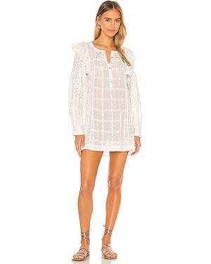 Белое платье мини на пуговицах в рубчик с декоративной отделкой Loveshackfancy