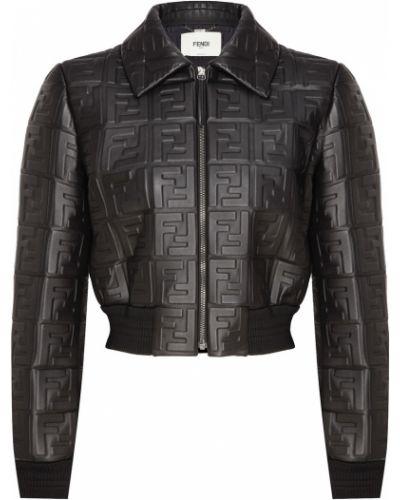 Кожаная куртка черная укороченная Fendi
