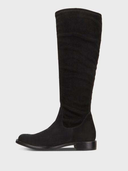 Кожаные черные сапоги с подкладкой Ecco