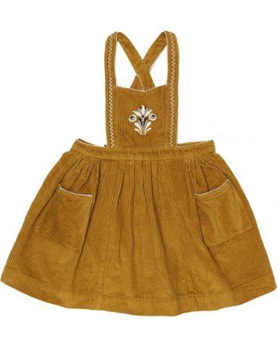 Ватное желтое платье с вышивкой вельветовое Caramel