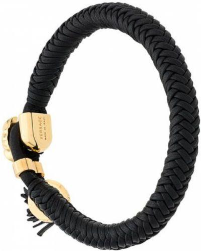 Плетеный браслет черный кожаный Versace
