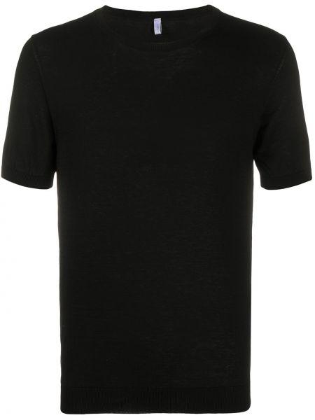Хлопковая черная вязаная футболка в рубчик Cenere Gb