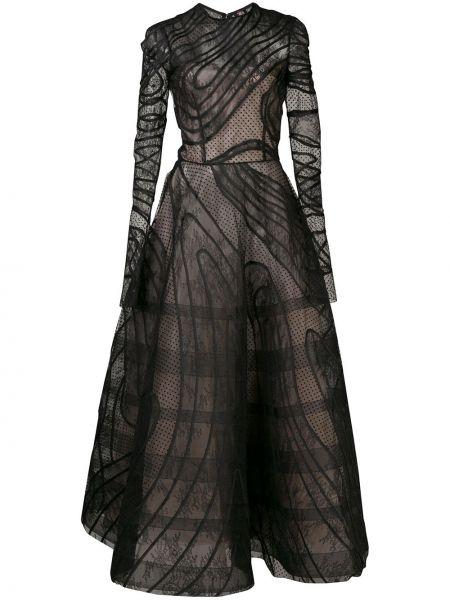 Платье в горошек в рубчик Oscar De La Renta