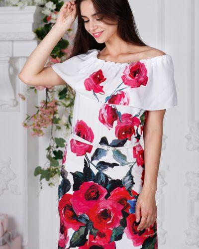 Летнее платье с декольте с поясом азалия