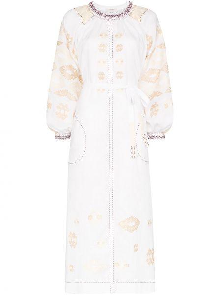 Льняное платье с вышивкой с карманами с вырезом Vita Kin