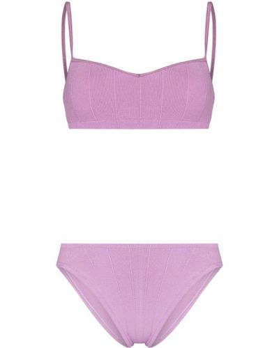 Fioletowy bikini z wysokim stanem z nylonu Hunza G