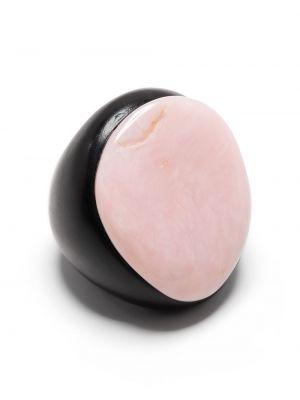 Czarny pierścionek oversize Monies