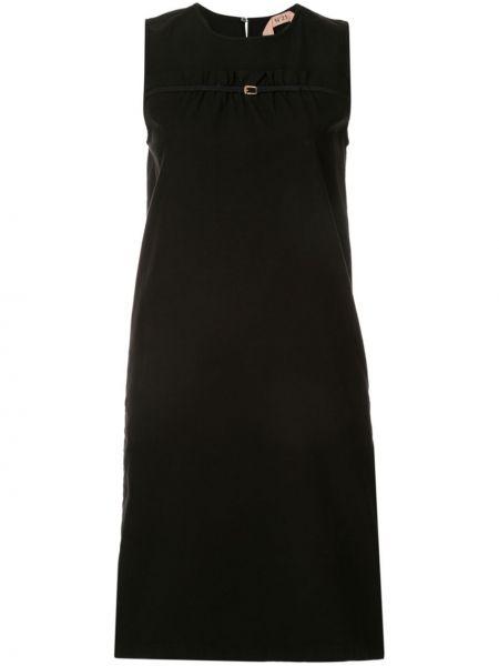 Czarna sukienka koktajlowa asymetryczna bez rękawów N°21