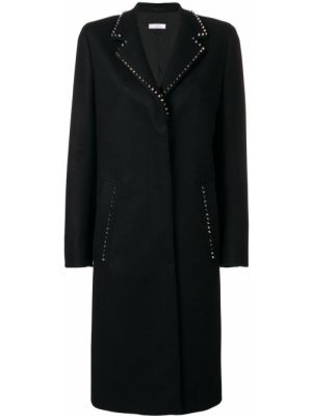 С рукавами однобортное коралловое шерстяное длинное пальто Versace Collection