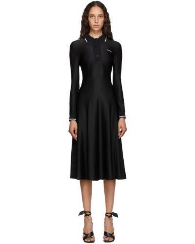 Платье миди с воротником с длинными рукавами с манжетами с нашивками Off-white
