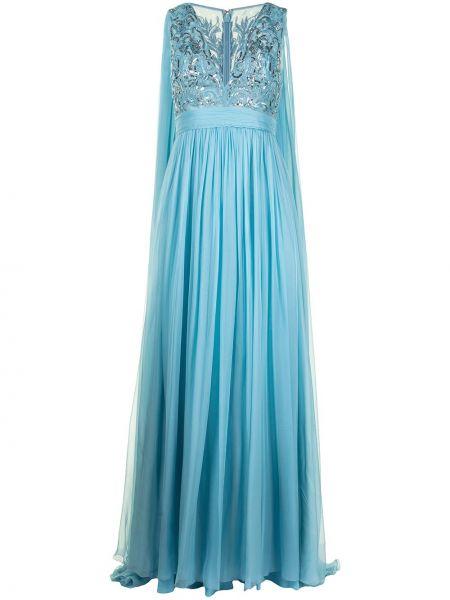 Шелковое синее вечернее платье с пайетками Zuhair Murad