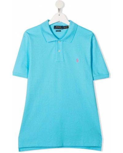 Niebieska koszula bawełniana krótki rękaw Ralph Lauren Kids
